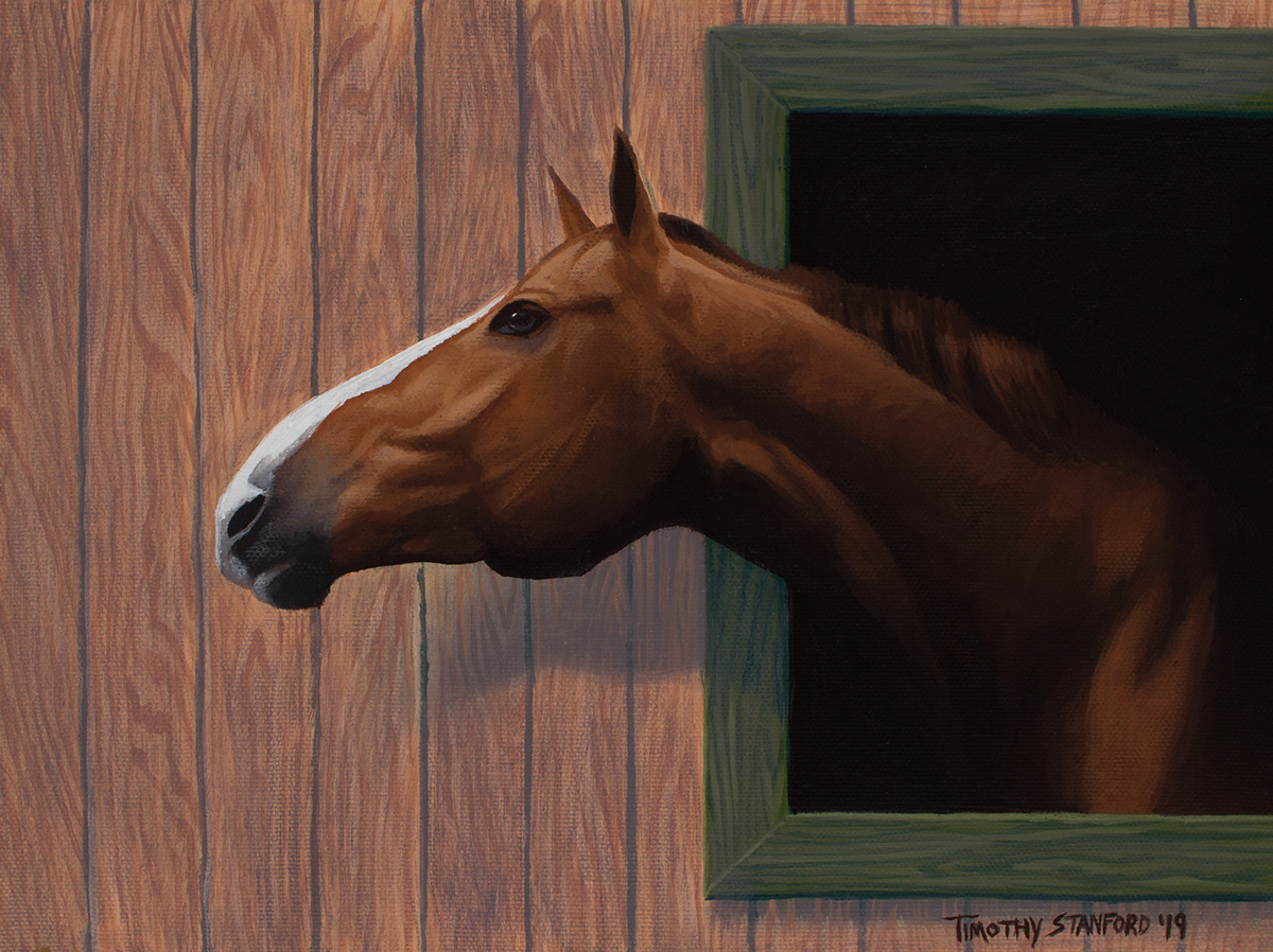 Acrylic painting of a chestnut horse stretching its neck out of the window of a wooden barn with green trim.