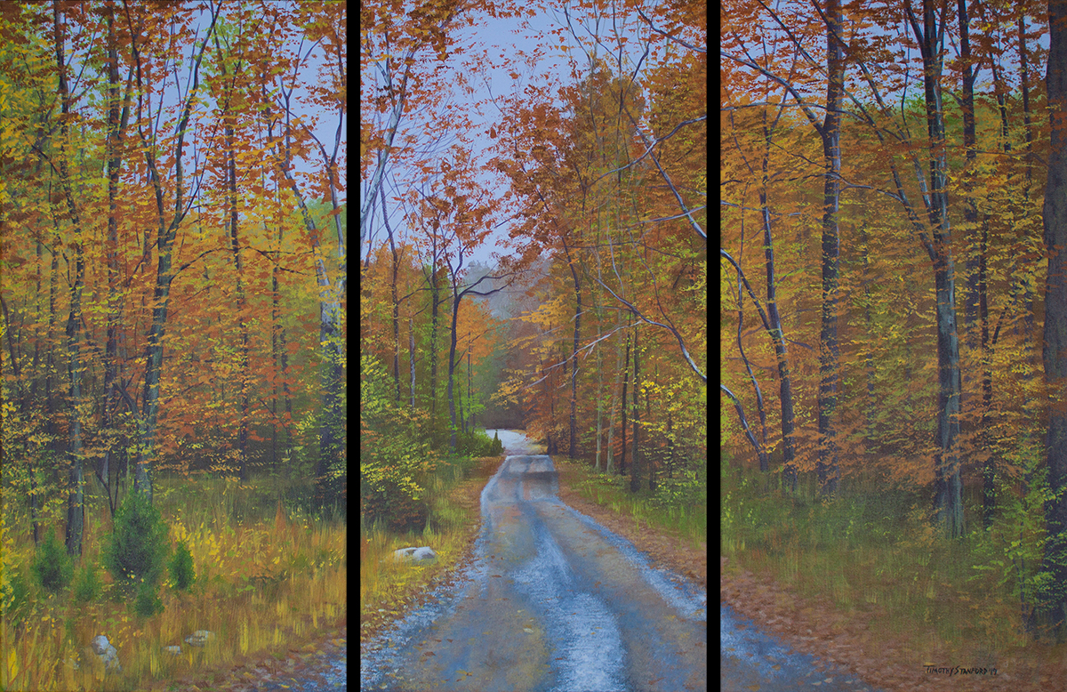 Three piece acrylic landscape painting of the road to Goat Hill in autumn.