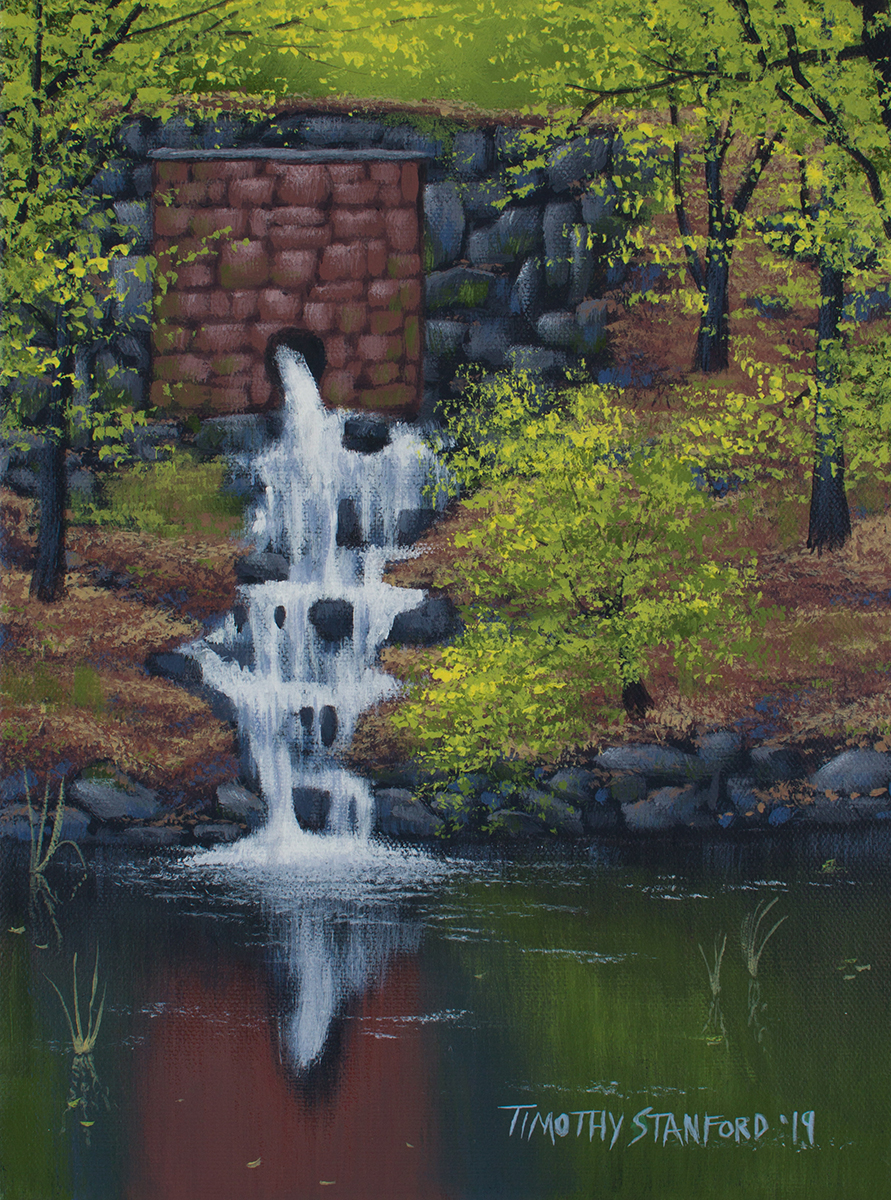 Acrylic landscape painting of a brick and stone wall with a waterfall flowing into a pool surrounded by young trees.