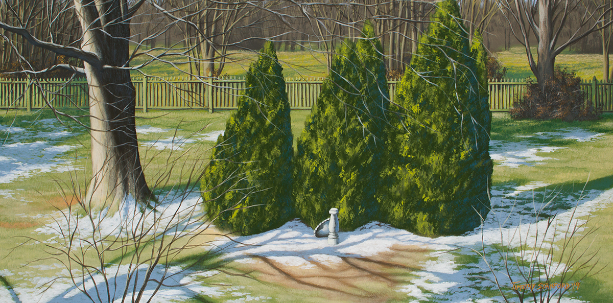 Acrylic painting of a backyard in winter with arborvitae trees and a bird bath.