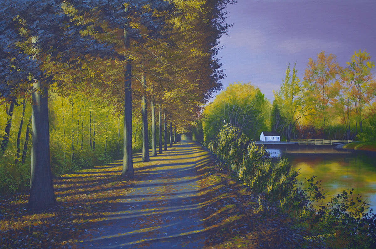 Acrylic landscape painting of the Delaware Canal towpath near Lambertville in autumn.