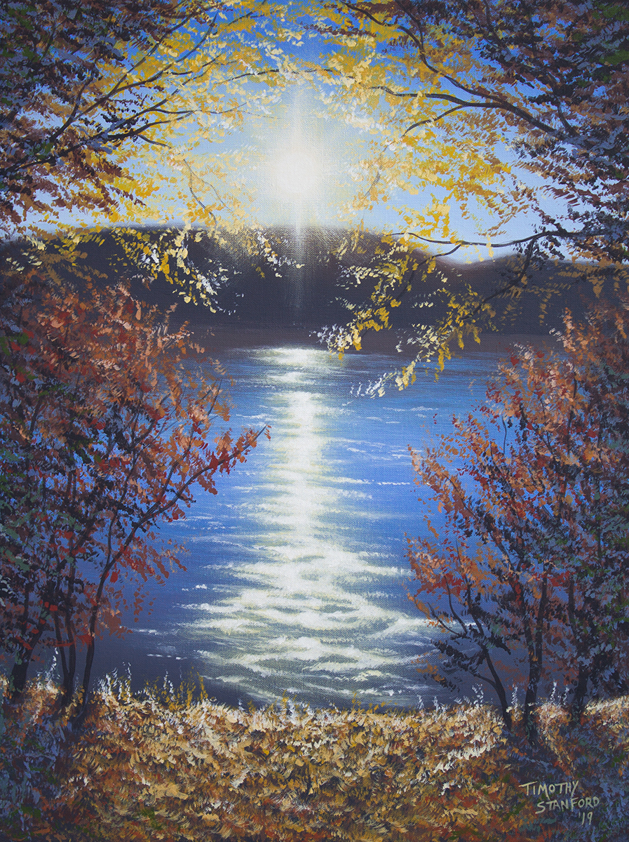 Acrylic landscape painting of an autumn sunset over the Delaware river with a leafy bank, bushes, and trees.