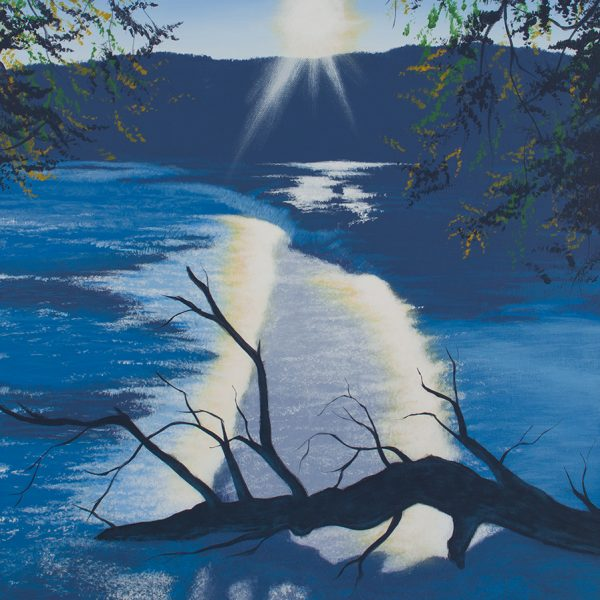 Acrylic landscape painting of a flooded wing dam on the Delaware river at sunset with a dead tree and it's shadow.