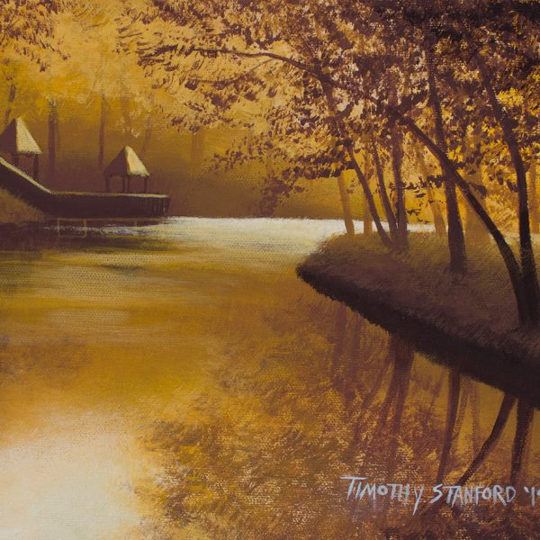 Acrylic landscape painting of a light filled river and bank with huts in gold monochrome.