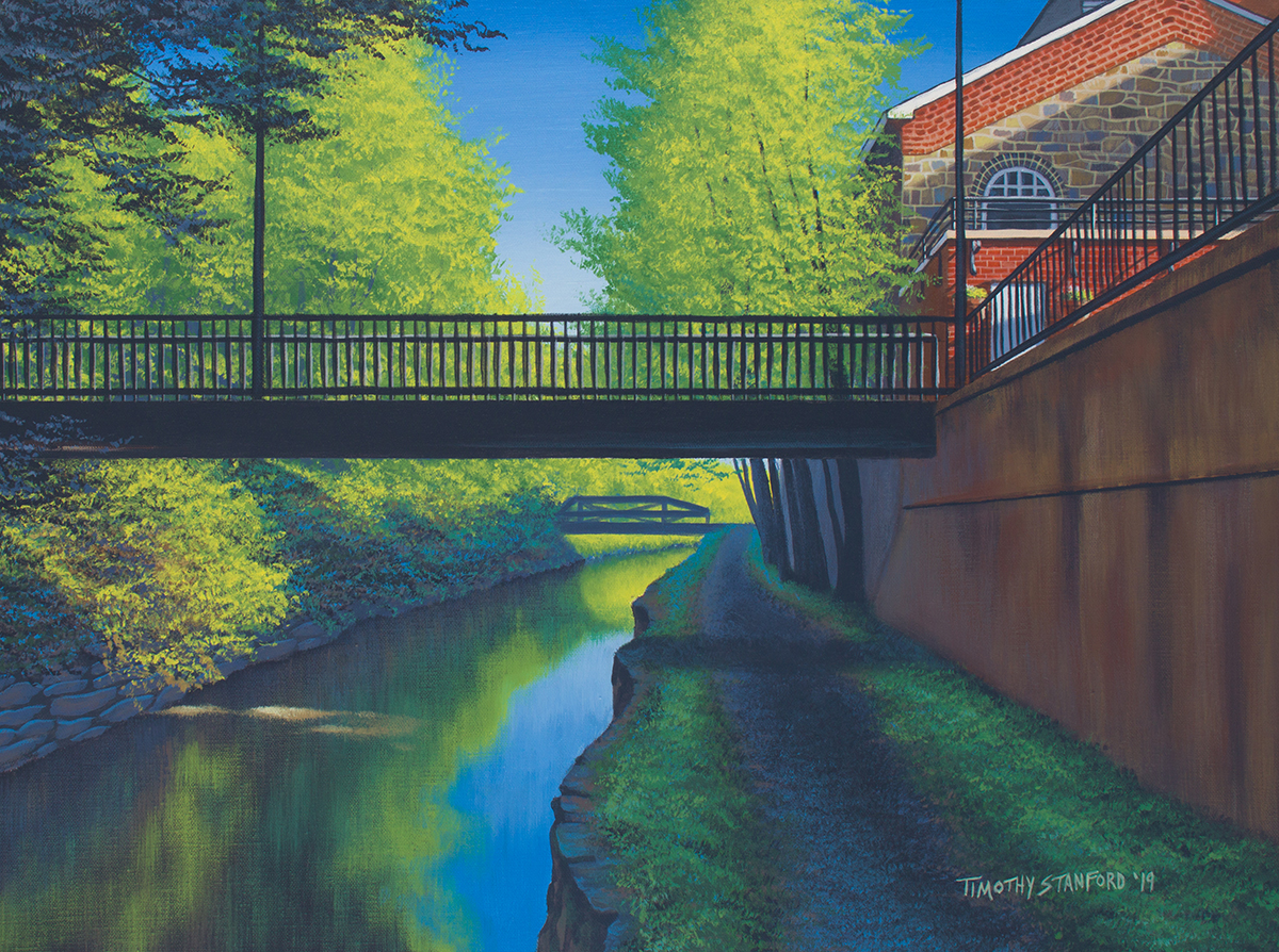 Acrylic landscape painting of the Delaware Canal towpath near the New Hope Waterworks condos pedestrian bridge.