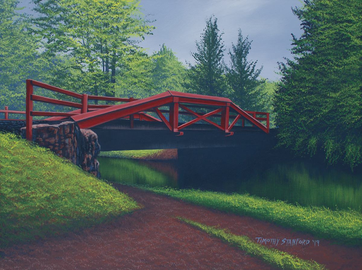 Acrylic landscape painting of the Delaware Canal towpath and the General Washington Memorial Blvd bridge.