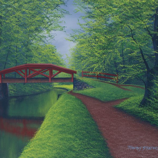 "Acrylic landscape painting of the Delaware Canal towpath at Washington Crossing and ""Crow's Bridge"" (a red pedestrian bridge)."