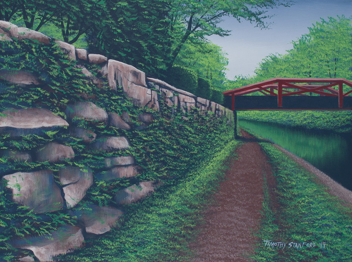 Acrylic landscape painting of the Delaware Canal towpath near the New Hope Waterworks condos with a rocky wall on one side.