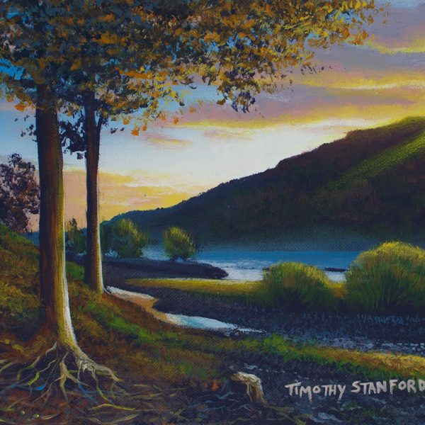 Acrylic landscape painting of the Delaware River during a drought.