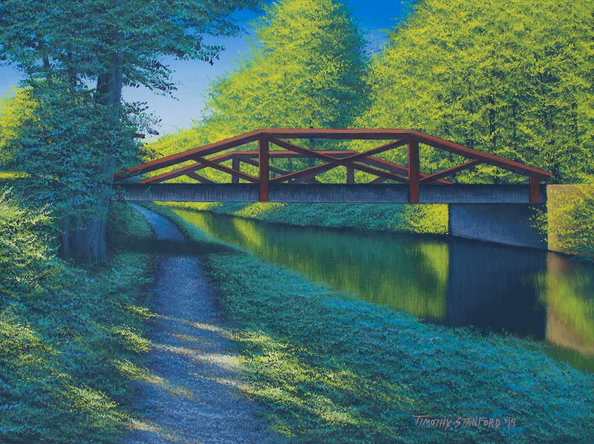 Acrylic landscape painting of the Delaware Canal towpath near the New Hope Waterview condos bridge.