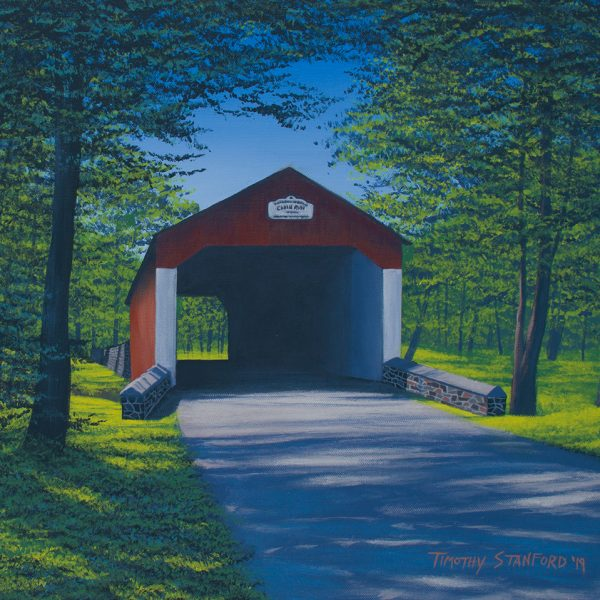 Acrylic landscape painting of Cabin Run Covered Bridge in late spring.