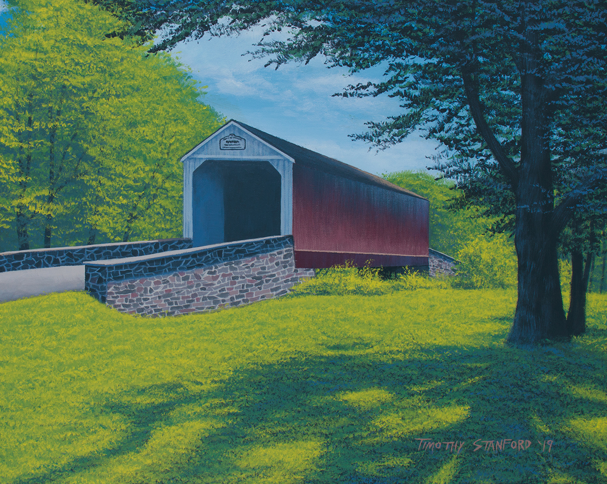 Acrylic landscape painting of Mood Covered Bridge in early summer with a large tree.