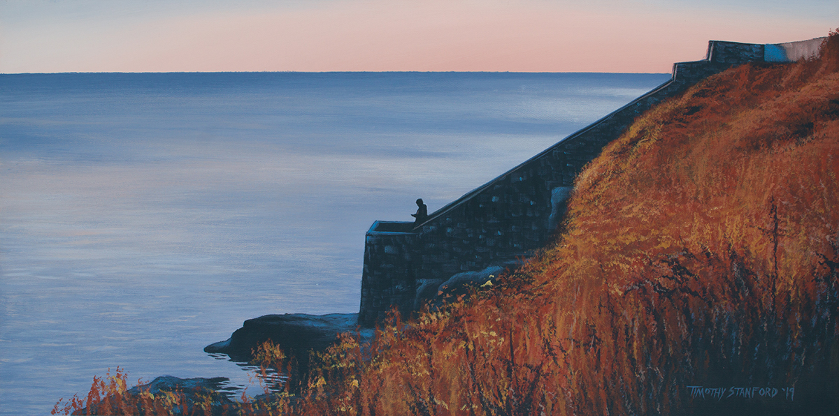 Acrylic landscape painting of a person standing at the bottom of the Forty Steps in Newport, Rhode Island during fall.