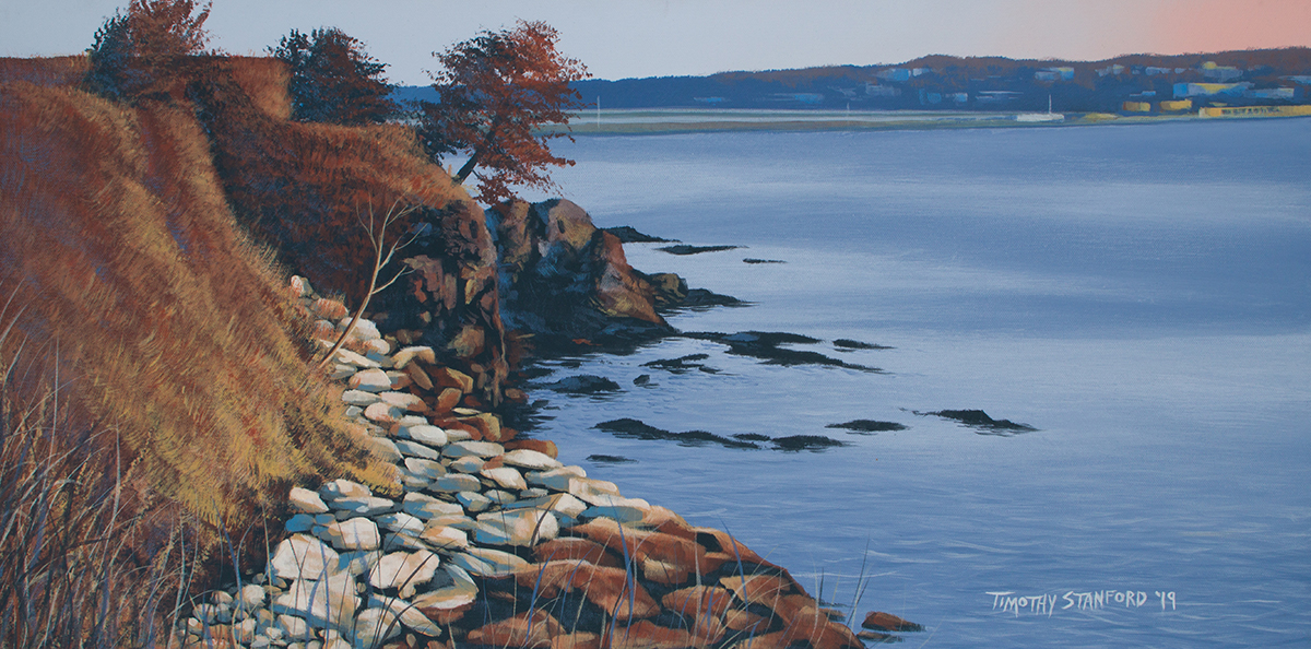 Acrylic landscape painting of the begining of the Cliff Walk in Newport, Rhode Island during fall.