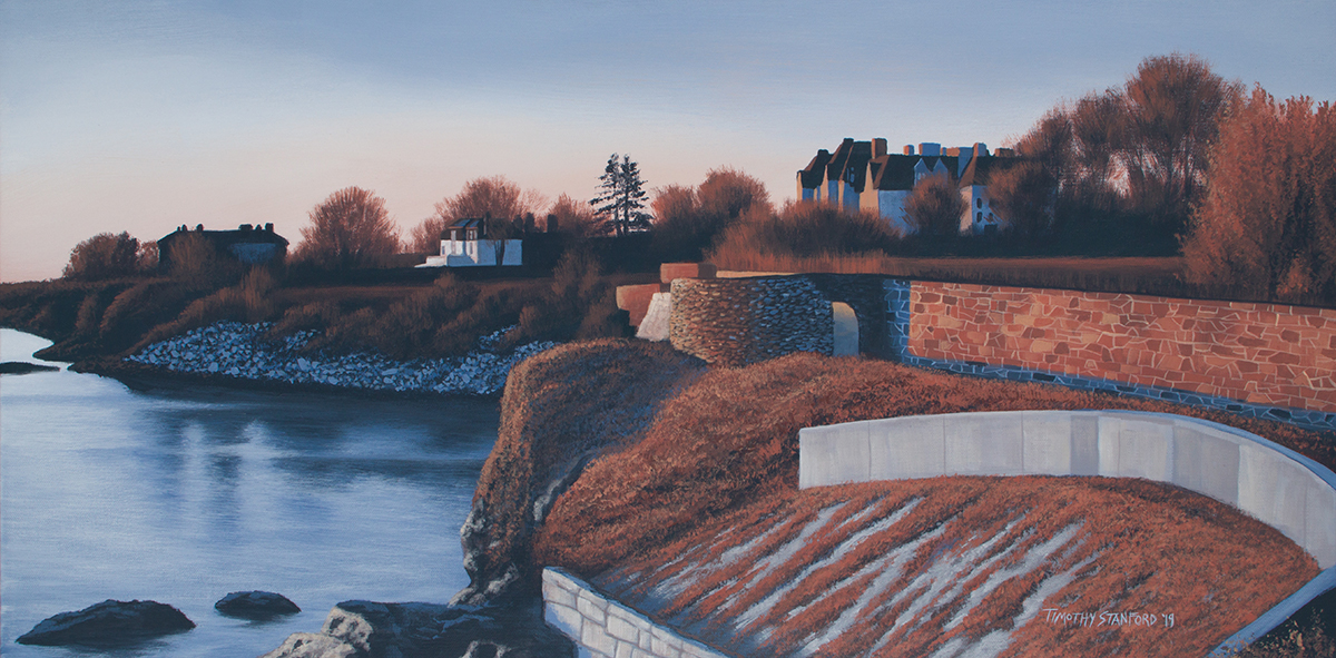 Acrylic landscape painting of Ochre Point in Newport, Rhode Island during fall.