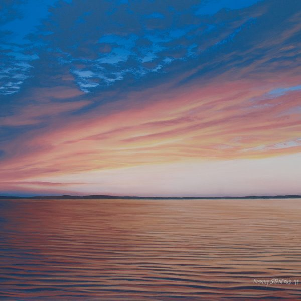 Acrylic landscape painting of blue, yellow, and pink clouds reflected in calm ocean waves.