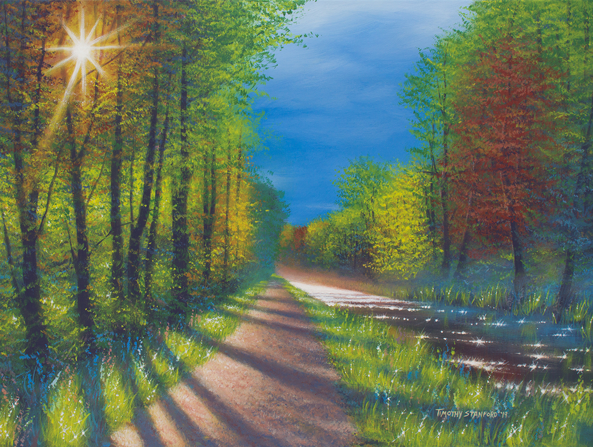 Acrylic landscape painting of the Delaware Canal towpath in spring with a bright sun casting dark shadows.