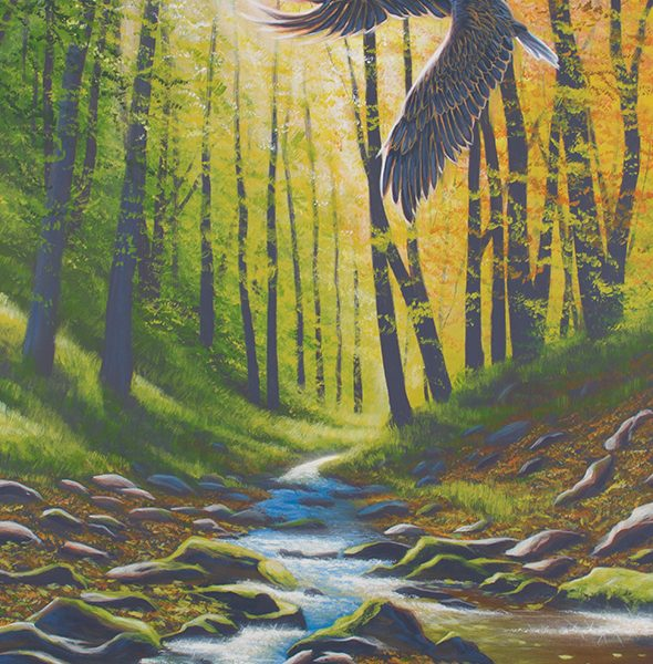 Acrylic landscape painting of a creek during the fall with an eagle passing overhead.