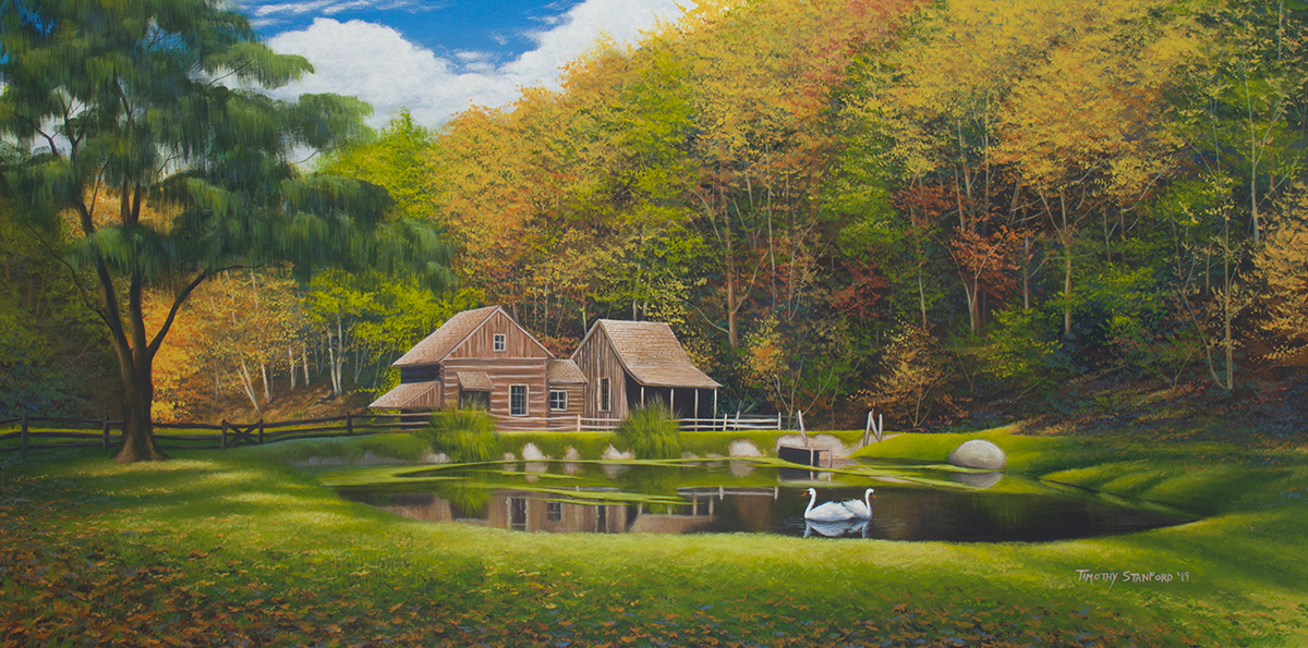 Acrylic landscape painting of Cuttaloosa Farm during the fall.