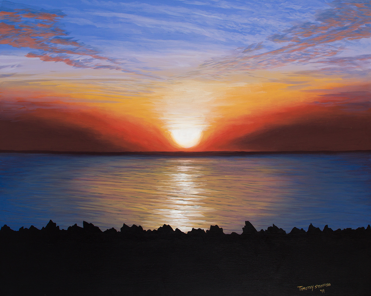 Acrylic landscape painting of a red and gold sunrise over the ocean at Newport, Rhode Island with rocky crags in the foreground.