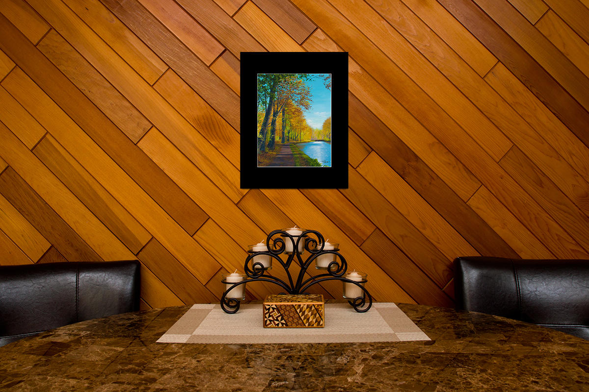 """Home decor scene with fine art matted print of Timothy Stanford's original acrylic painting """"Jubilant Path"""""""