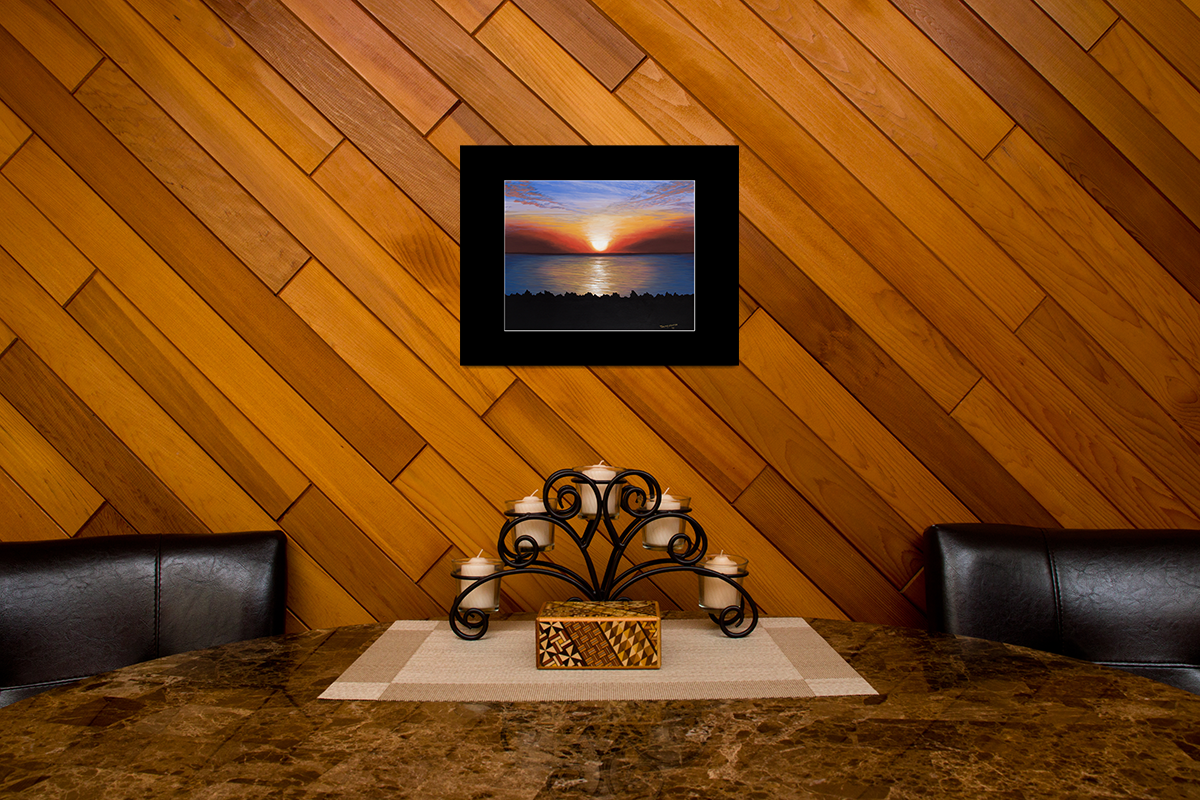"Home decor scene with fine art matted print of Timothy Stanford's original acrylic painting ""Breaking Dawn"""