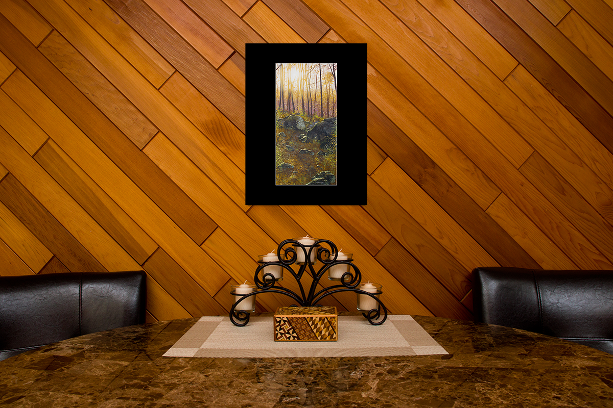 """Home decor scene with fine art matted print of Timothy Stanford's original acrylic painting """"A Boulder Way"""""""