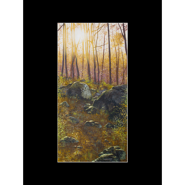 """Fine art matted print of Timothy Stanford's original acrylic painting """"A Boulder Way"""""""