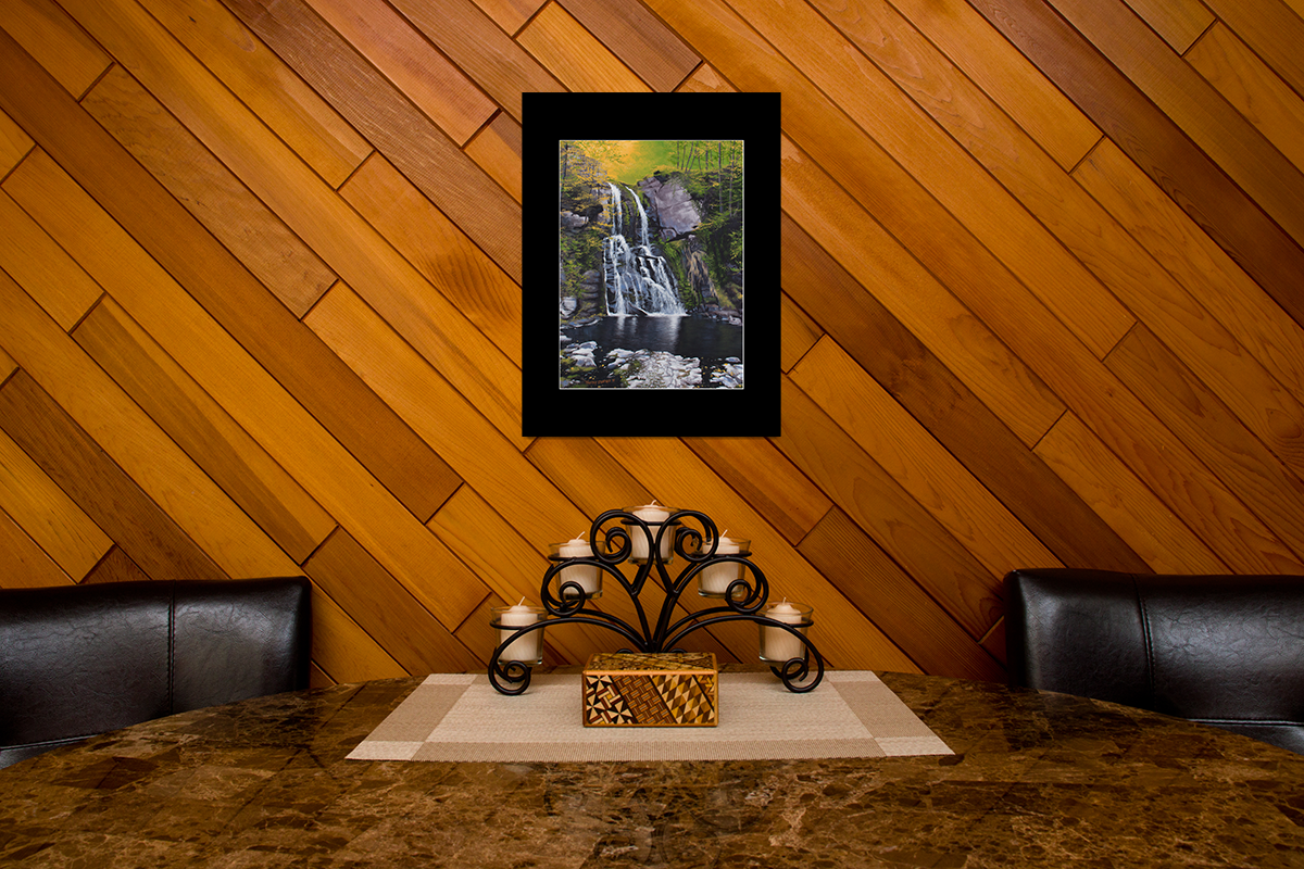 "Home decor scene with fine art matted print of Timothy Stanford's original acrylic painting ""Verdant Falls"""
