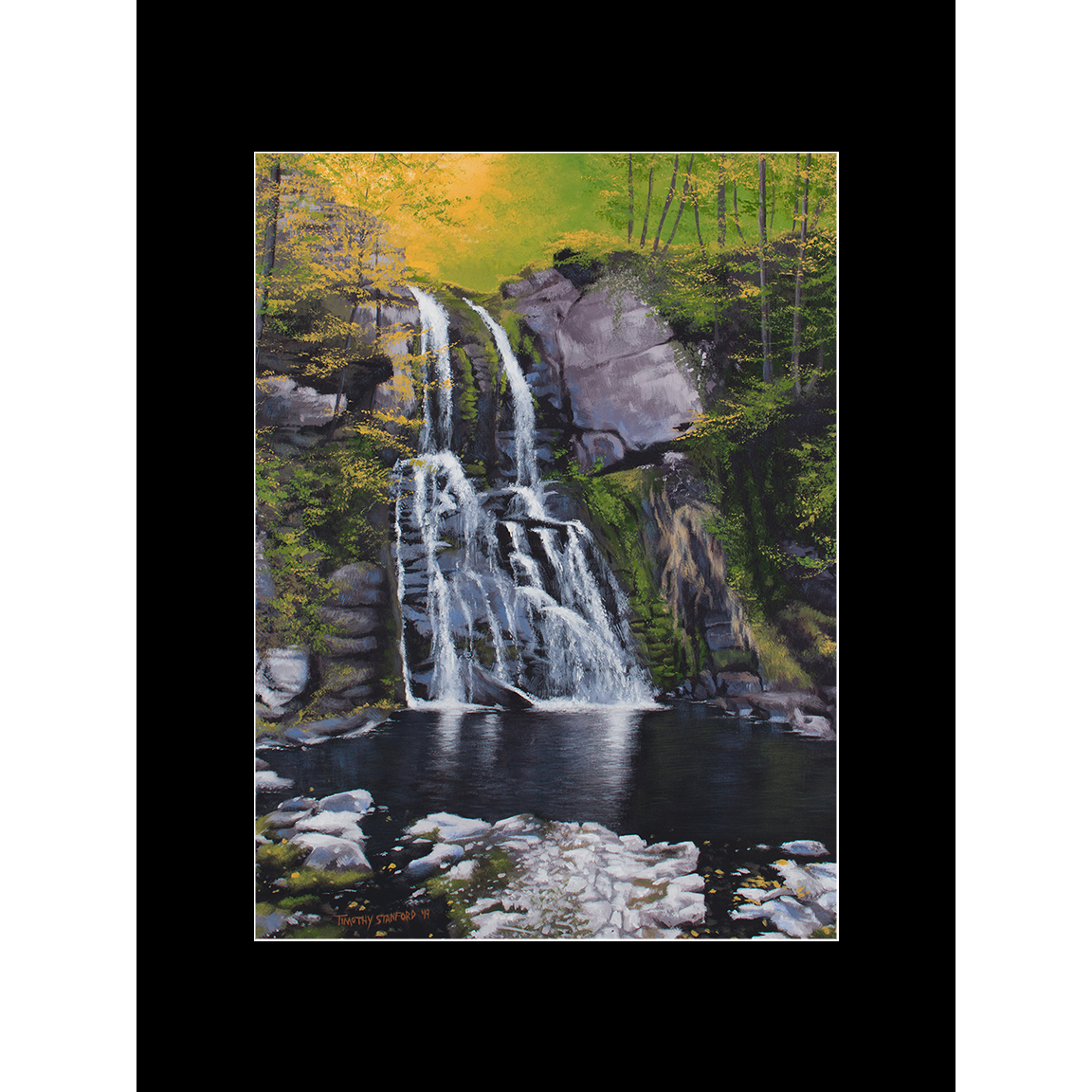 "Fine art matted print of Timothy Stanford's original acrylic painting ""Verdant Falls"""