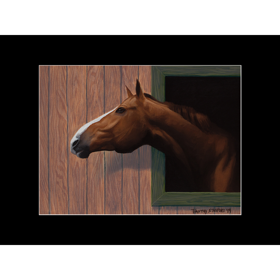 """Fine art matted print of Timothy Stanford's original acrylic painting """"Nosing Around"""""""