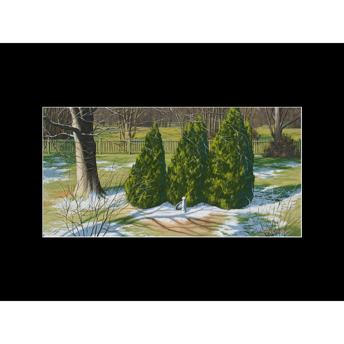 """Fine art matted print of Timothy Stanford's original acrylic painting """"Closed for Winter"""""""