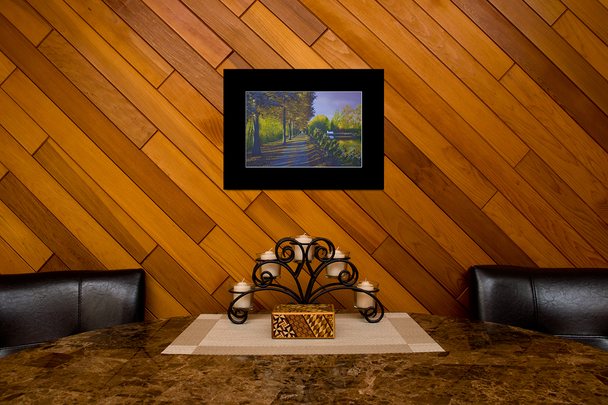 """Home decor scene with fine art matted print of Timothy Stanford's original acrylic painting """"Placid Path"""""""