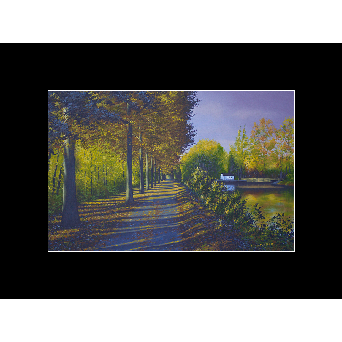 """Fine art matted print of Timothy Stanford's original acrylic painting """"Placid Path"""""""