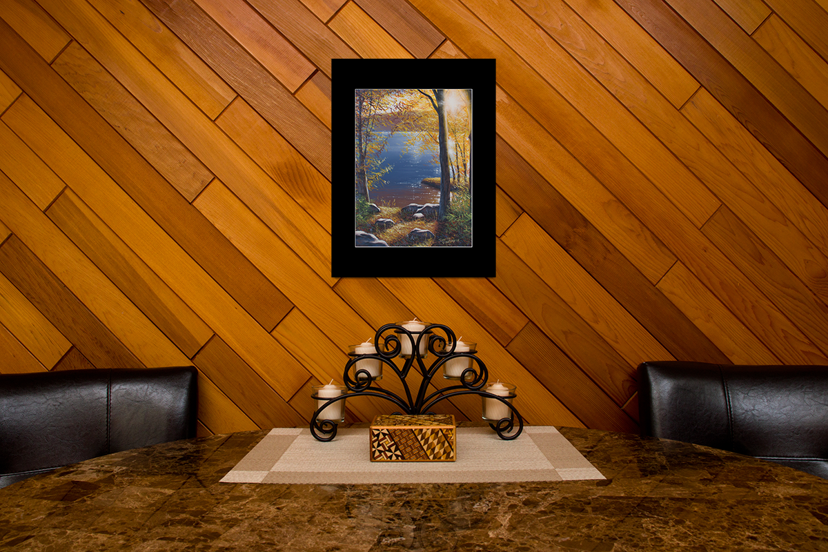 """Home decor scene with fine art matted print of Timothy Stanford's original acrylic painting """"Glistening Sunset"""""""