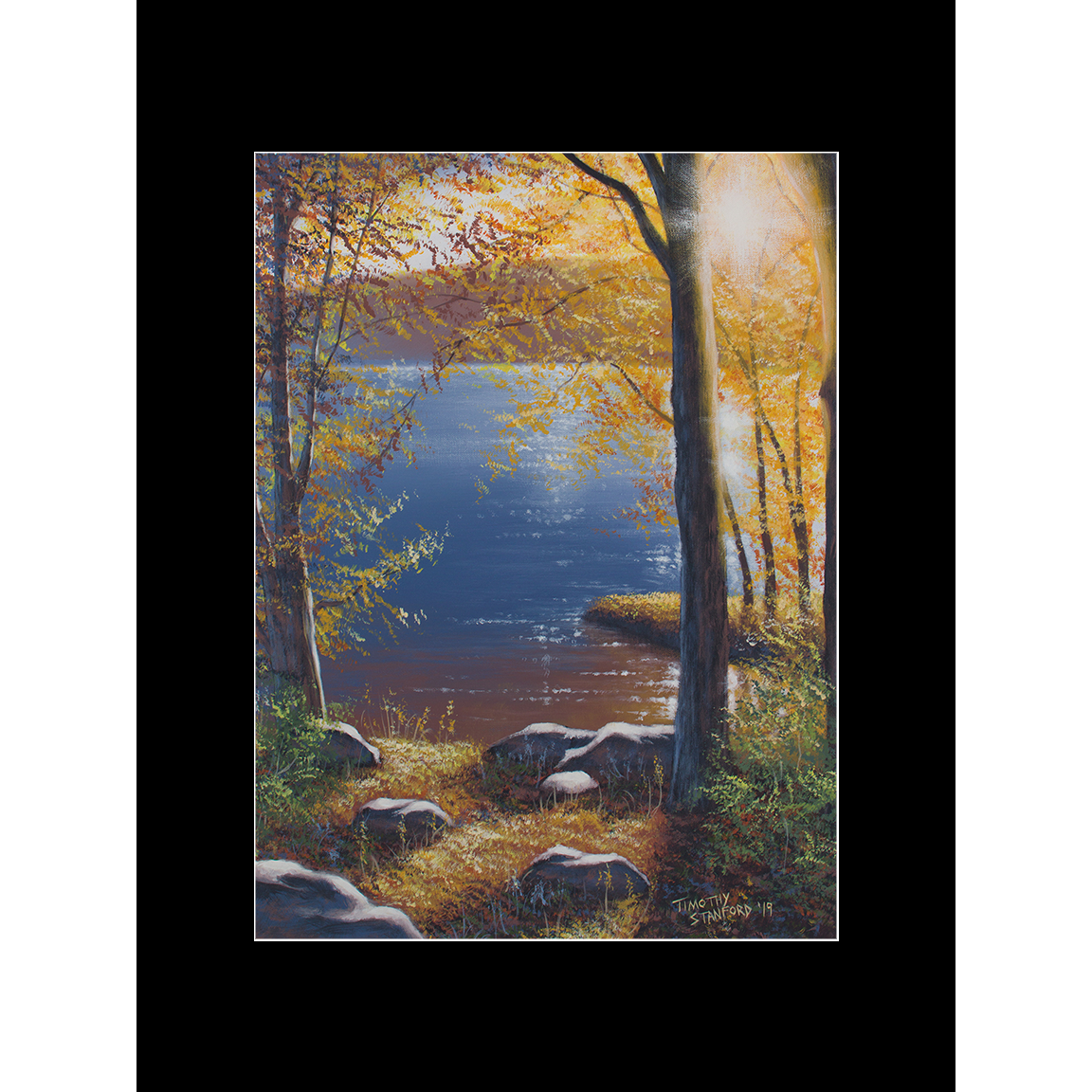 """Fine art matted print of Timothy Stanford's original acrylic painting """"Glistening Sunset"""""""