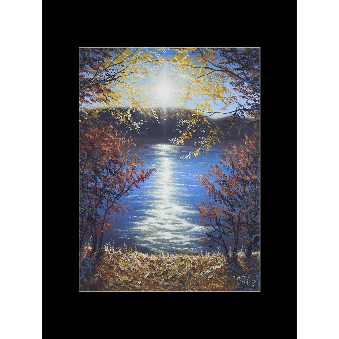 """Fine art matted print of Timothy Stanford's original acrylic painting """"Shimmering Sunset"""""""