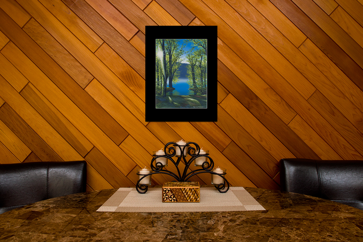 """Home decor scene with fine art matted print of Timothy Stanford's original acrylic painting """"Sunset in Green"""""""