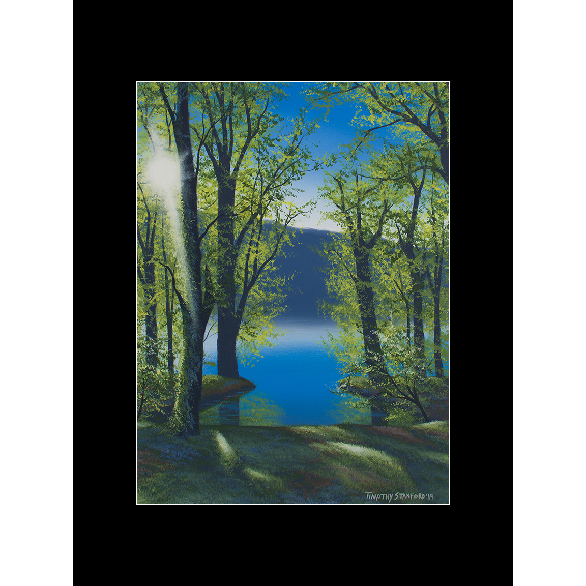 """Fine art matted print of Timothy Stanford's original acrylic painting """"Sunset in Green"""""""