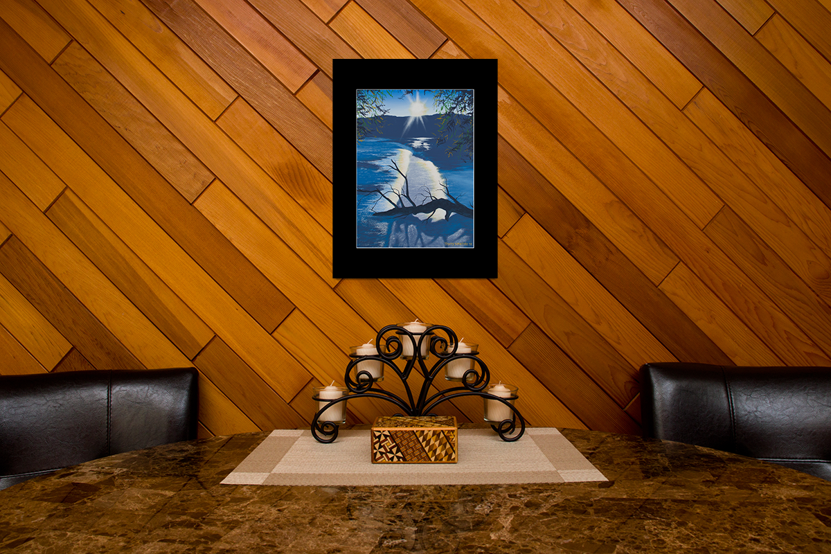 """Home decor scene with fine art matted print of Timothy Stanford's original acrylic painting """"Sunset in Blue"""""""