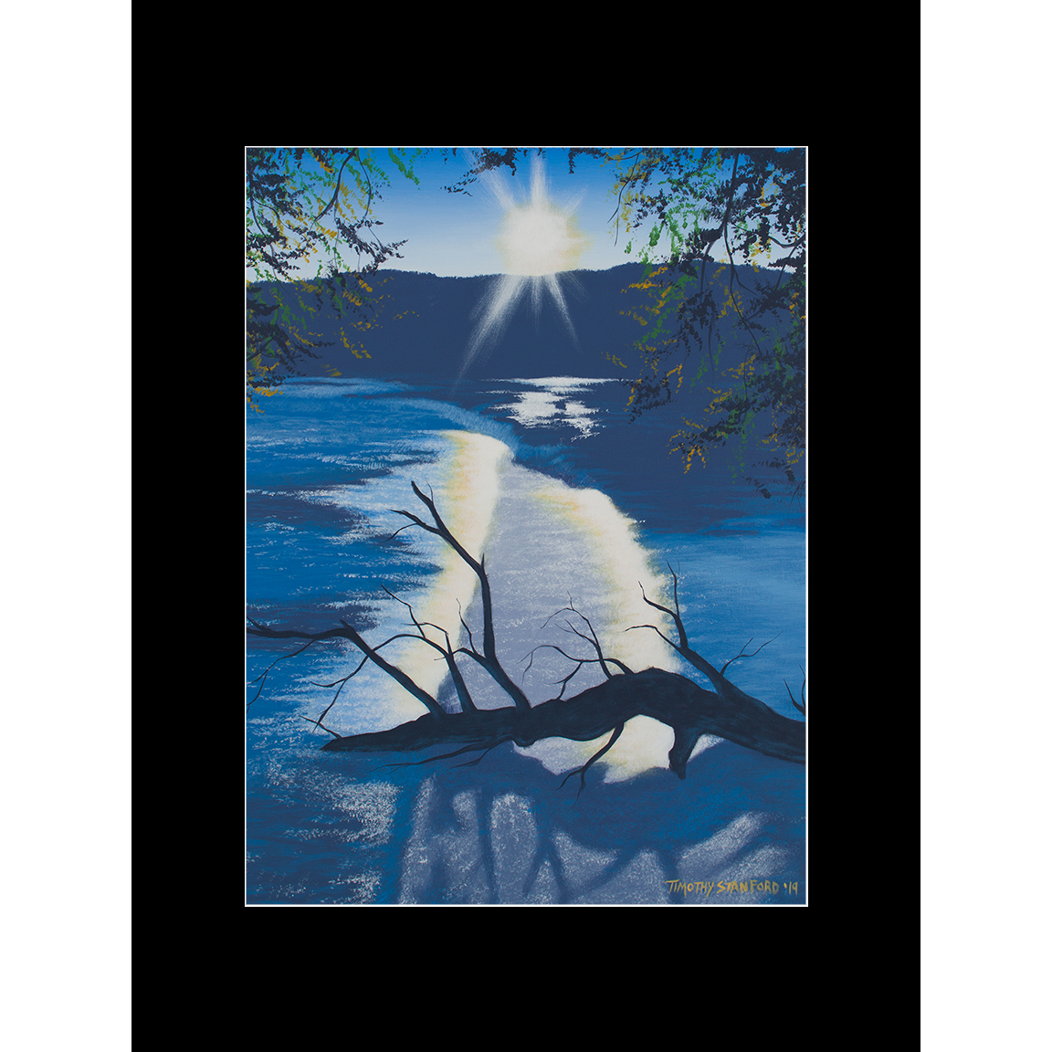 """Fine art matted print of Timothy Stanford's original acrylic painting """"Sunset in Blue"""""""