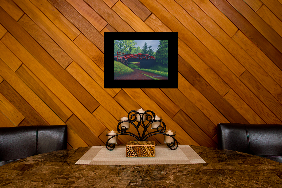 """Home decor scene with fine art matted print of Timothy Stanford's original acrylic painting """"The Crossing"""""""