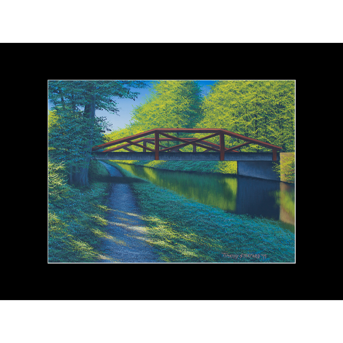 "Fine art matted print of Timothy Stanford's original acrylic painting ""Waterview Bridge"""