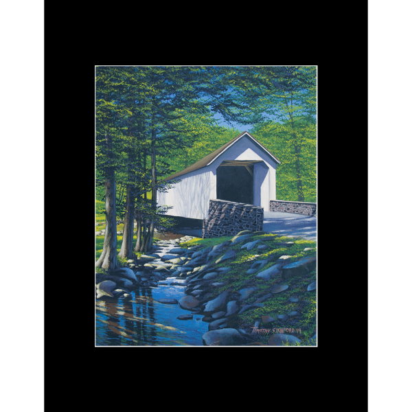 "Fine art matted print of Timothy Stanford's original acrylic painting ""Spring at Loux Bridge"""