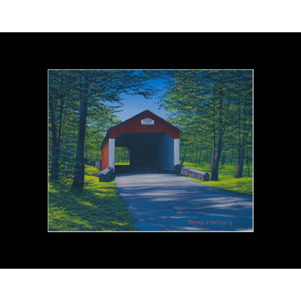 """Fine art matted print of Timothy Stanford's original acrylic painting """"Shade at Cabin Run"""""""