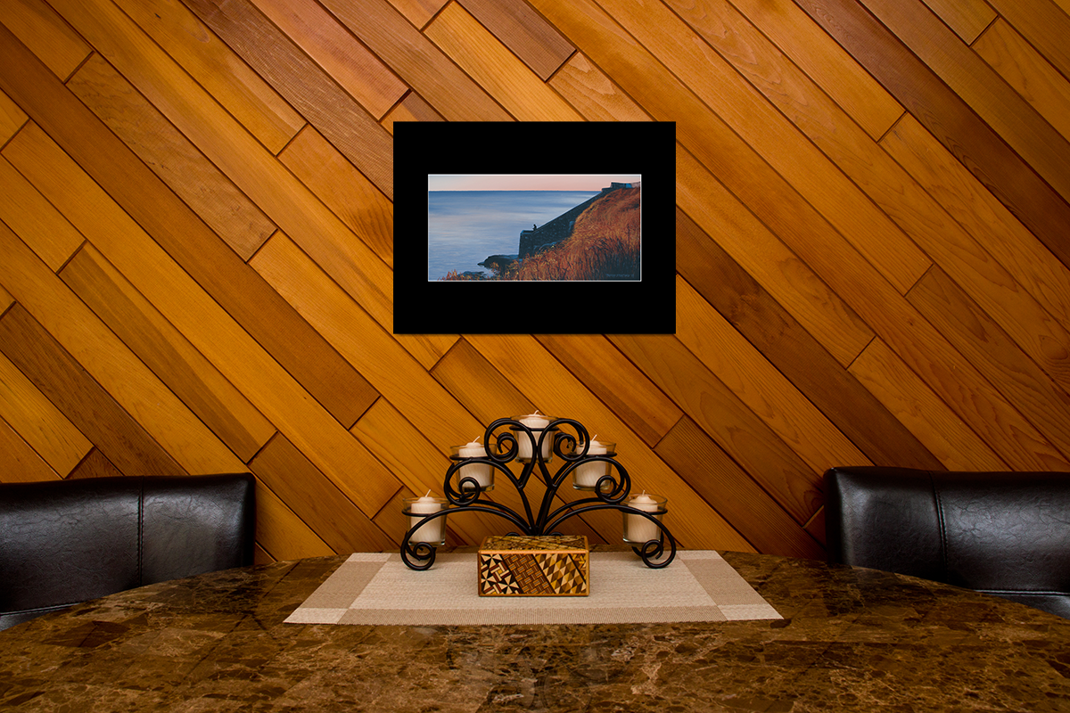 "Home decor scene with fine art matted print of Timothy Stanford's original acrylic painting ""Forty Steps to Solitude"""