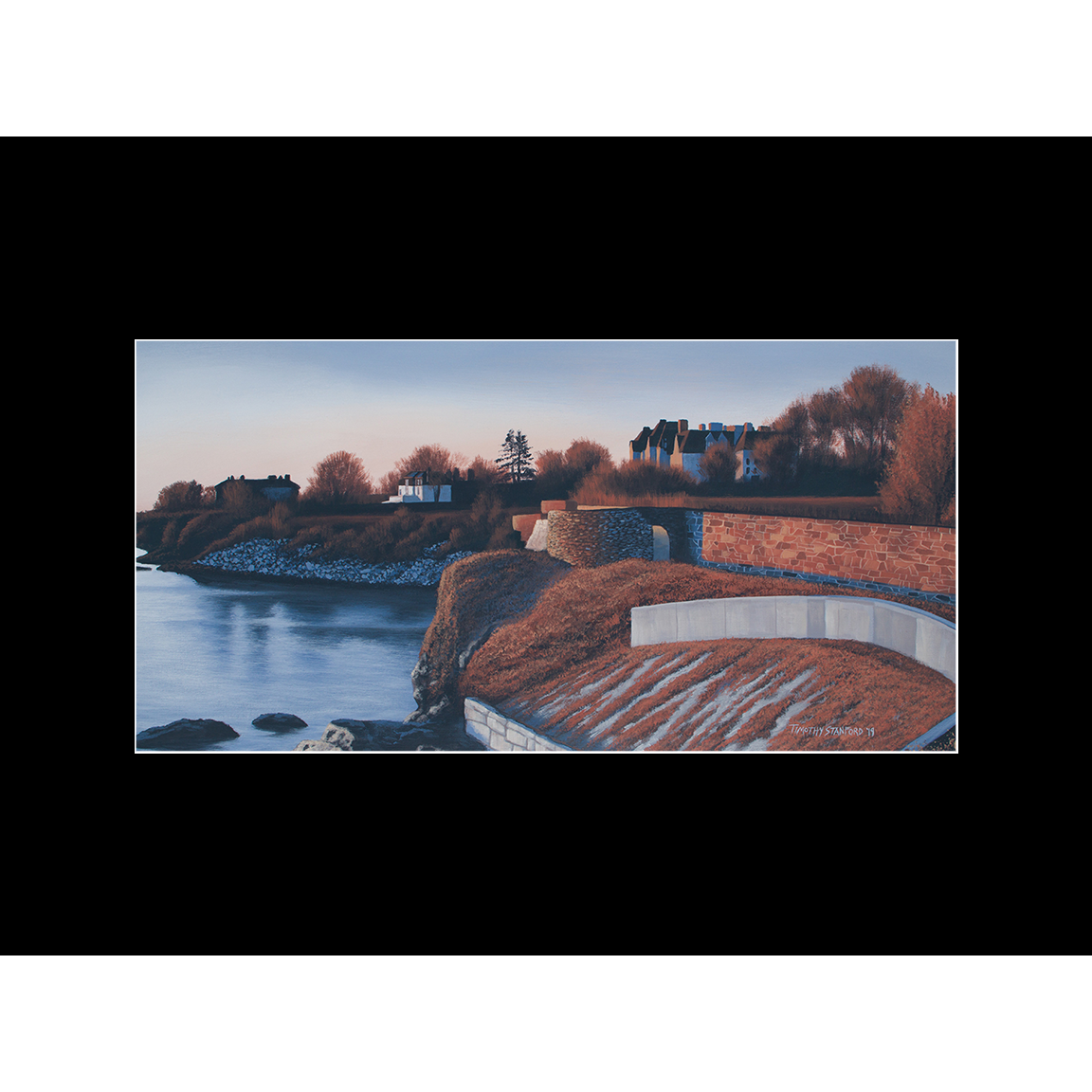 """Fine art matted print of Timothy Stanford's original acrylic painting """"Ochre Point Morning"""""""