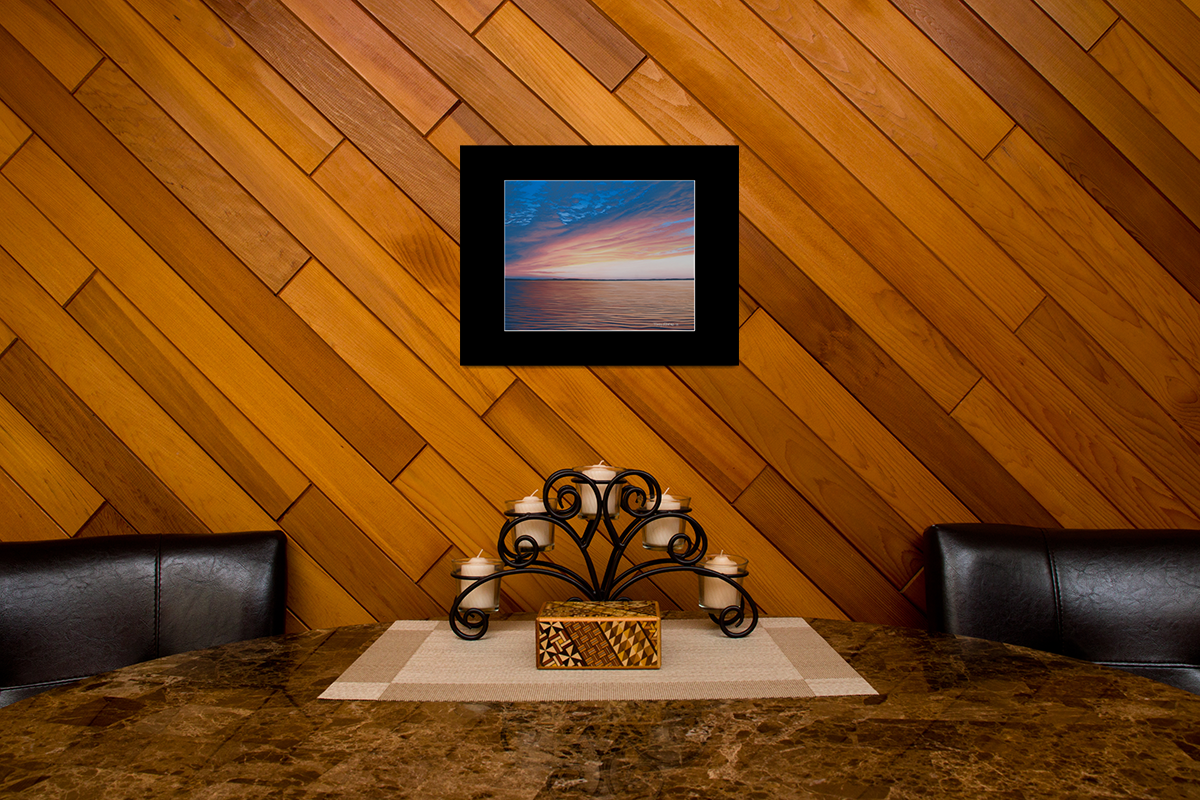 "Home decor scene with fine art matted print of Timothy Stanford's original acrylic painting ""Evening Unfolds"""