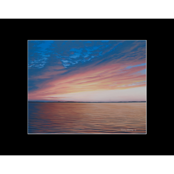 """Fine art matted print of Timothy Stanford's original acrylic painting """"Evening Unfolds"""""""