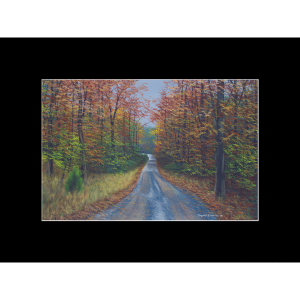 "Fine art matted print of Timothy Stanford's original acrylic painting ""Autumn Road"""